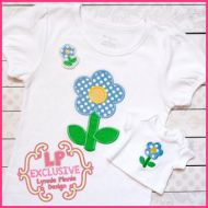 Spring Flower Applique With Mini & Felt Clippie 4x4 5x7 6x10 SVG