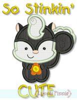 So Stinkin' Cute Skunk Applique 4x4 5x7 6x10