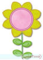 Sunflower with Applique Center 4x4 & 5x7