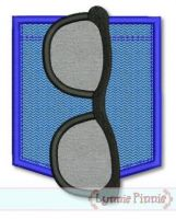 Sunglasses Pocket Applique 1 Machine Embroidery Design File 4x4 5x7