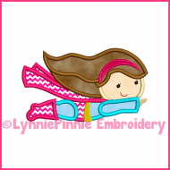 Flying SUPERHERO GIRL 3 Applique Embroidery Design 4x4 5x7 6x10 7x11