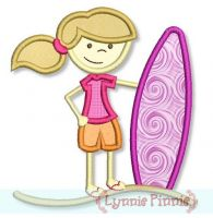 Surfer Girl Applique 4x4 5x7