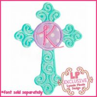 Swirl Cross Circle Applique 4x4 5x7 6x10 7x11 SVG
