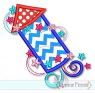 Swirl Firecracker Applique 4x4 5x7 6x10 7x11 SVG