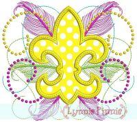 Fancy Fleur de Lis Applique 4x4 5x7 6x10