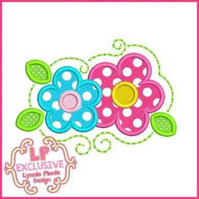 Swirl Flowers Applique 4x4 5x7 6x10