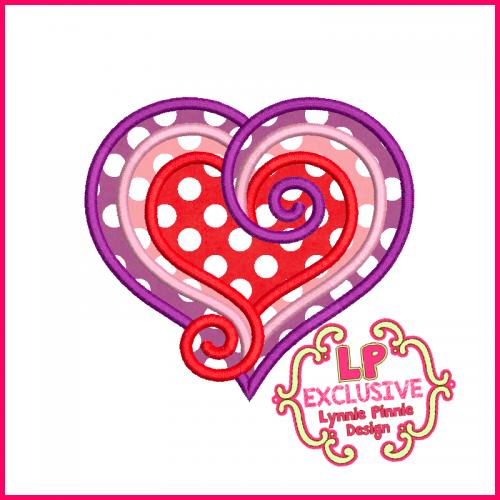 Swirly Heart 2 Applique Design 4x4 5x7 6x10 7x11