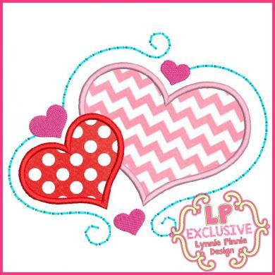 Swirl Hearts Applique 4x4 5x7 6x10 7x11 SVG