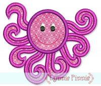 Swirly Octopus Applique 4x4 5x7