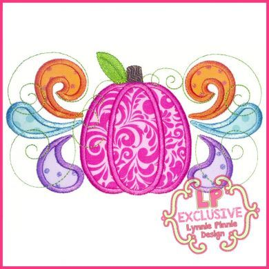 Bright Swirly Pumpkin Applique 4x4 5x7 6x10 7x11 SVG