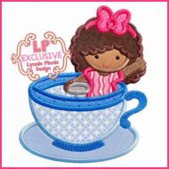 Teacup Ride Girl with Curly Hair 4x4 5x7 6x10 7x11