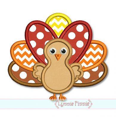 Thanksgiving Turkey Applique 4x4 5x7 6x10 SVG