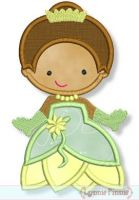 Cutie Frog Princess Applique 4x4 5x7 6x10