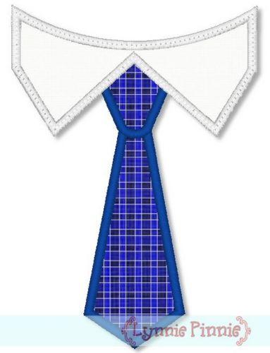 Tie with Shirt Collar Applique 4x4 5x7 6x10