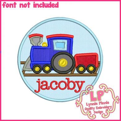 Train Circle Applique 4x4 5x7 6x10 SVG
