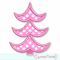 Applique Retro Christmas Tree 4 4x4 & 5x7 6x10