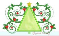 Christmas Tree Flourish Applique 4x4 5x7 6x10 SVG