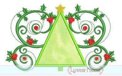 Christmas Tree Flourish Applique 4x4 5x7 6x10 SVG