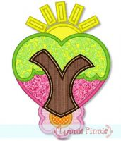 Heart Tree with Sun and Flower Applique 4x4 5x7