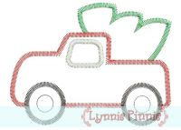 Zig Zag Christmas Tree Truck Applique 4x4 5x7 6x10