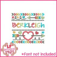 Tribal Arrows & Hearts Name Frame Applique 4x4 5x7 6x10 7x11