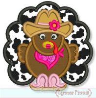 Cowgirl Turkey Applique 4x4 5x7 6x10 7x11