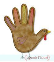 Hand Turkey Applique 4x4 5x7 6x10