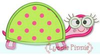 Turtle Girl Applique (2) 4x4 5x7 6x10