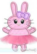 Tutu Bunny Applique with 3D Skirt 4x4 5x7 6x10 SVG