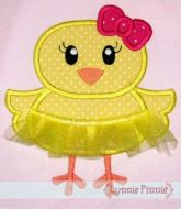 Tutu Chick Applique with 3D Skirt 4x4 5x7 6x10 SVG