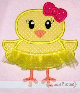 Tutu Chick Applique with 3D Skirt 4x4 5x7 6x10 SVG
