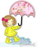 Umbrella Girl Applique 4x4 5x7 6x10