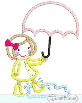 Zig Zag Umbrella Girl Applique 4x4 5x7 6x10
