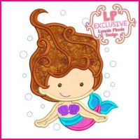 Underwater Mermaid with Bubbles Applique 4x4 5x7 6x10 7x11