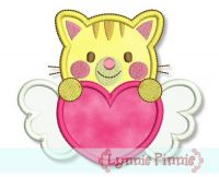 Sweetheart Valentine Cat Applique 4x4 5x7