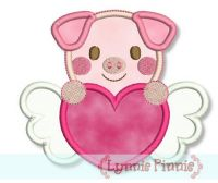 Sweetheart Valentine Pig Applique 4x4 5x7