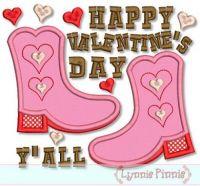 Valentine Boots Applique 4x4 5x7 6x10