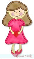 Valentine Girl Applique 4x4 5x7