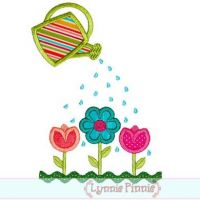 Watering Can with Flower Garden Applique 4x4 5x7 6x10 7x11 SVG