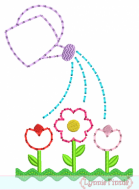 Watering Can with Flower Garden STITCHY Applique 5x7 6x10 7x11 SVG