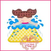 Waterslide Girl Applique 4x4 5x7 6x10 SVG