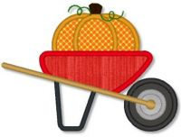 Pumpkin in Wheelbarrow Applique 4x4 5x7