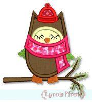 Winter Owl Applique 4x4 5x7 6x10