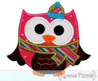 Christmas Winter Owl Applique 4x4 5x7 6x10