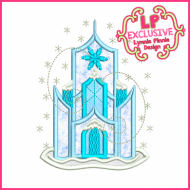 Snowy Winter Ice Castle Applique 4x4 5x7 6x10 7x11 SVG