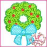 Wreath with Bow Applique 4x4 5x7 6x10 7x11 SVG
