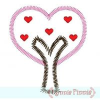 Zig Zag Heart Tree Applique 4x4 5x7 6x10