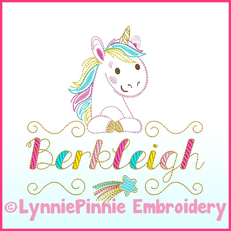 Colorwork rainbow unicorn name frame embroidery design