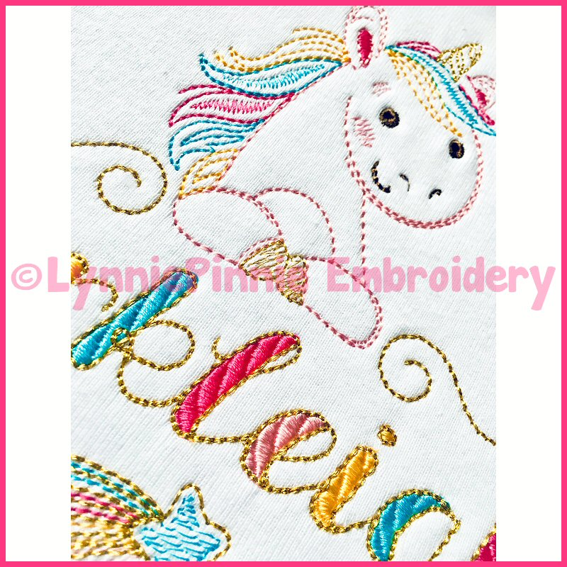 Colorwork rainbow unicorn name frame embroidery design