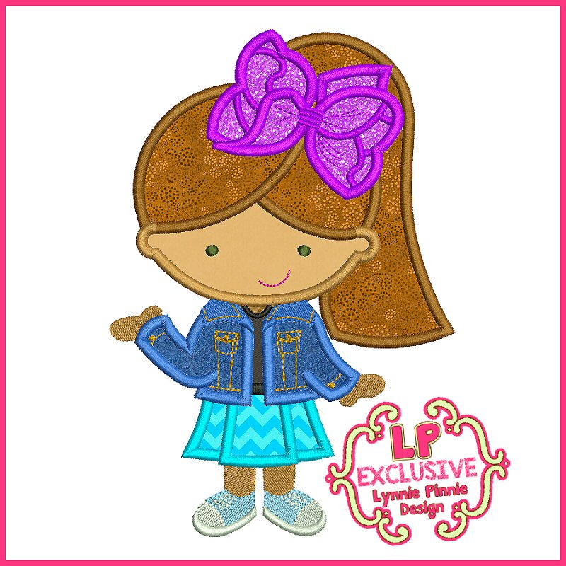 Big Bow Cutie Girl Applique Embroidery Design File 4x4 5x7